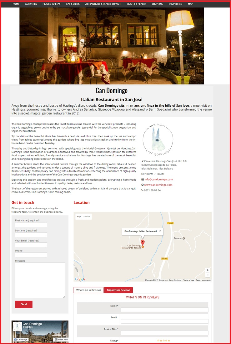 Sales Page Example when Advertise with us What's on in North London.com